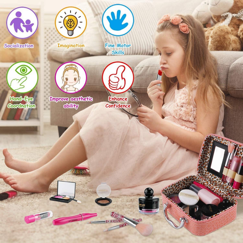 FancyWhoop Kinderschminke Set M/ädchen 25 St/ück Waschbar Schminkset Rollenspiel Spielzeug Mit 4 Jewels Stickers Kosmetiktasche Makeup Set Mit Glitter Kosmetiktasche