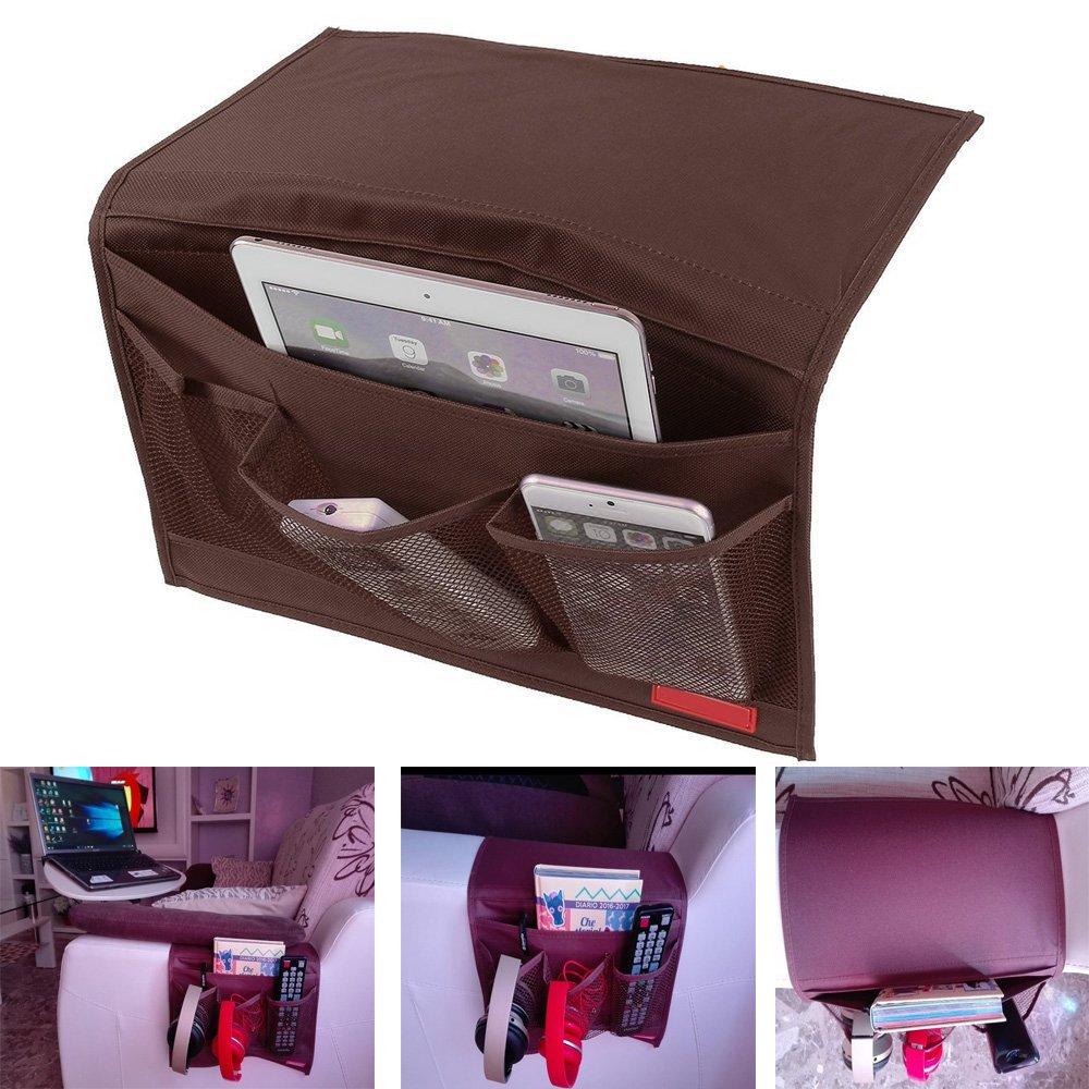 GUO - Tasca portaoggetti da appendere, per scrivania, divano, sedia o letto, ideale per riporre telecomando, riviste, libri e molto altro Coffee