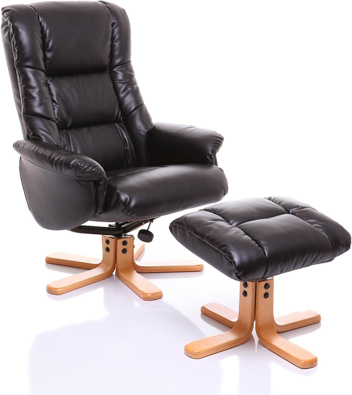 GFA Shanghai Bonded LeatherMatch Swivel Recliner Chair & Footstool In BlackCherry