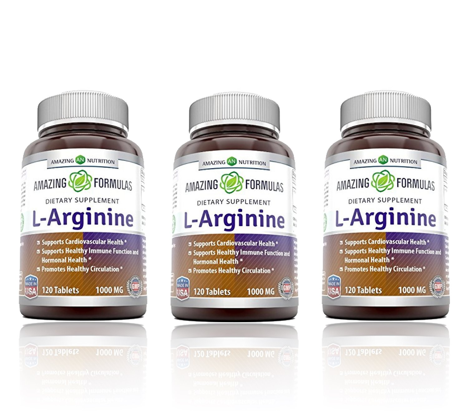 Amazing Formulas L-Arginine 1000mg Supplement - Best Amino Acid Arginine HCL Supplements for Women & Man - Promotes Circulation and Supports Cardiovascular Health - 3 Pack by Amazing Nutrition