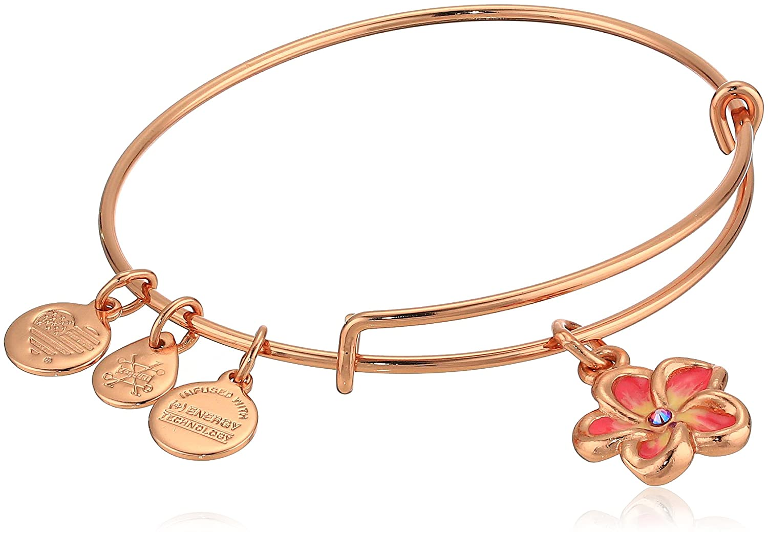 Alex and Ani Women's Color Infusion, Tropical Flower Bangle Bracelet, Shiny Rose, Expandable