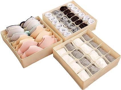 organizador de cajones divisor de armario plegable caja de almacenamiento de ropa interior plegable contenedores de caja de almacenamiento Organizador de cajones de ropa interior de 3 piezas