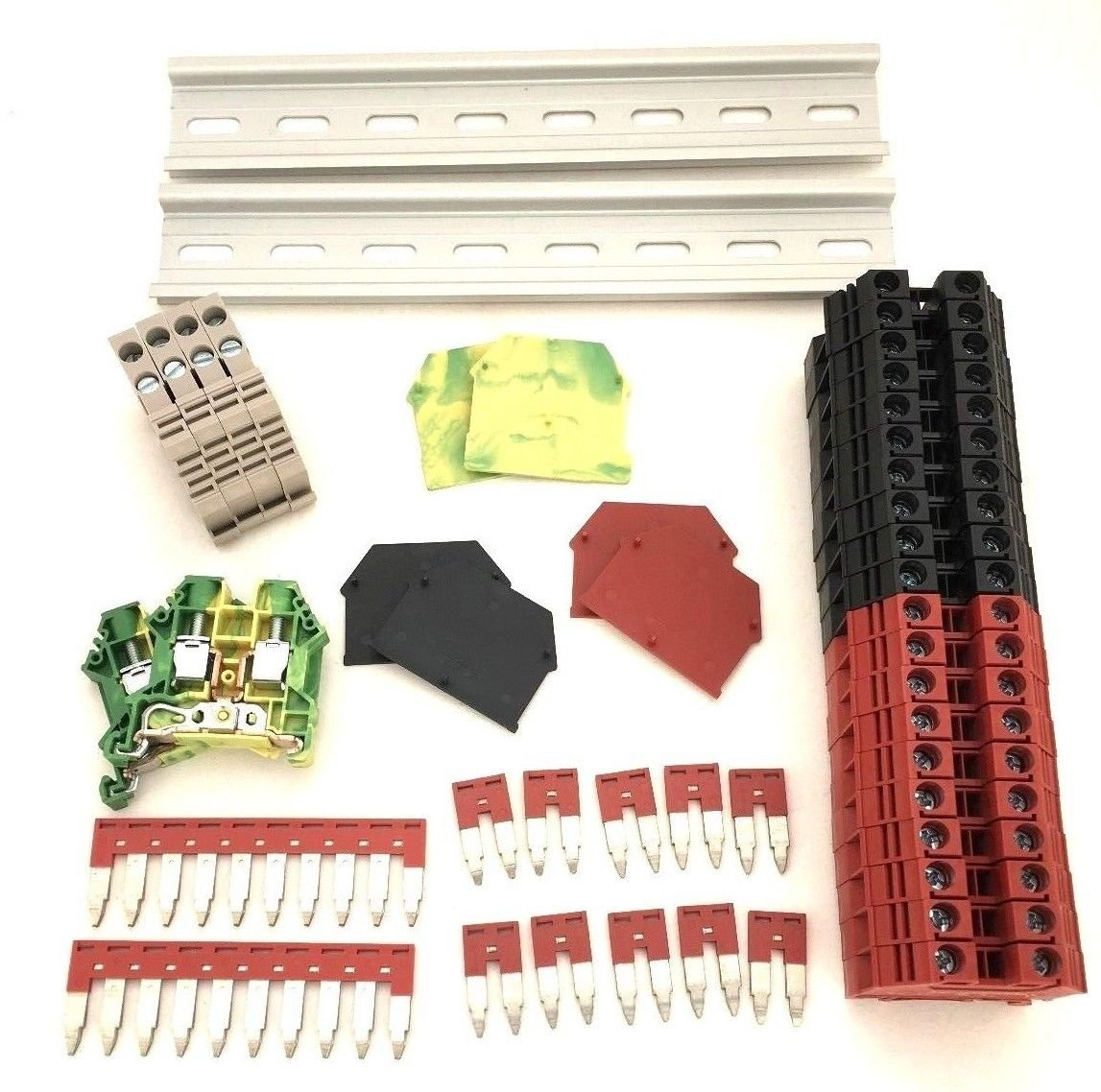 Red/Black DIN Rail Terminal Block Kit Dinkle 20 DK6N 8 AWG Gauge 50A 600V Ground DK6N-PE Jumper DSS6N-02P DSS6N-10P End Covers End Brackets by Dinkle