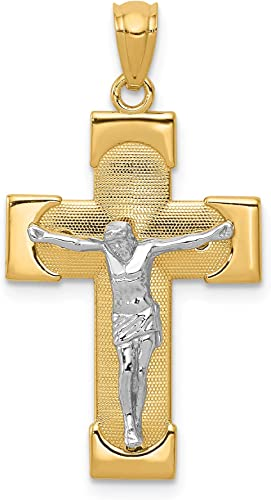14K Yellow /& White-Two-Tone Crucifix Pendant