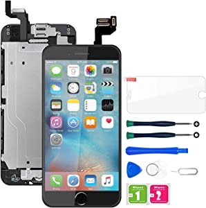 for iPhone 6s Screen Replacement Black, LCD Display & Touch Screen Digitizer Replacement Include Home Button, Front Camera, Earpiece Pre-Assembled, Screen Protector Free Repair Tools