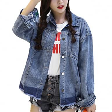 Streetwear Tassel Hem Bomber Jacket Women Boyfriends Long Sleeve Casaco Feminino Casual Denim Jaquetas Chaqueta Mujer