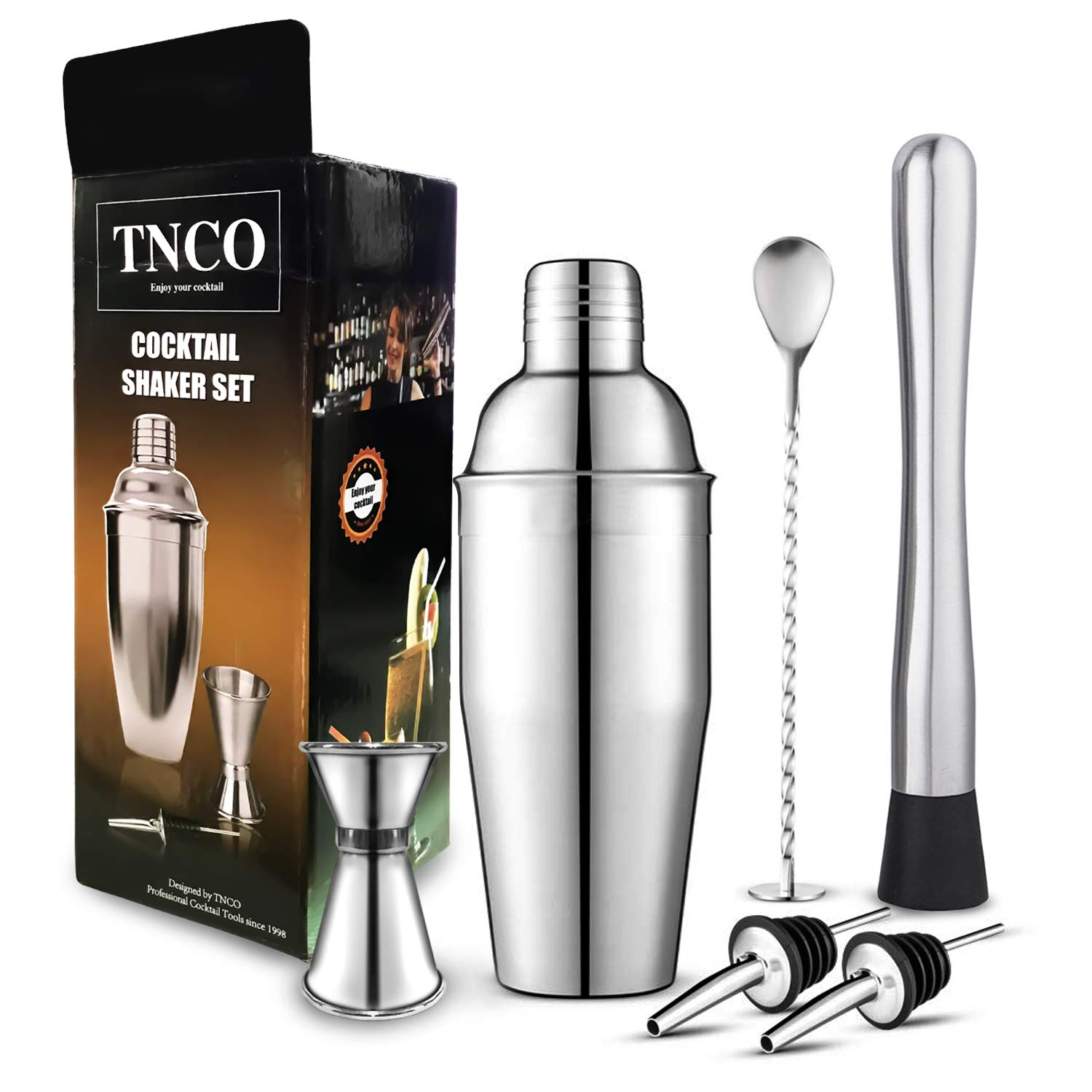 LUCKWET Cocktail Shaker Set: 24 Oz Stainless Steel Martini Shaker With Measuring Jigger, Mixing Spoon,Muddle,2 liquor pourers,Professional Kit Gift