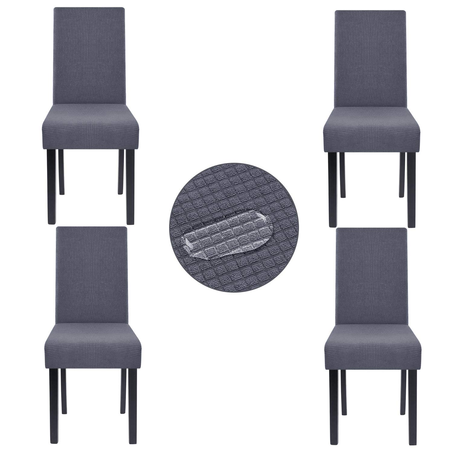 Homluxe High Stretch Chair Covers Dining Room Water Repellent Fabric Parson Chair Slipcovers (4, Dark Gray)