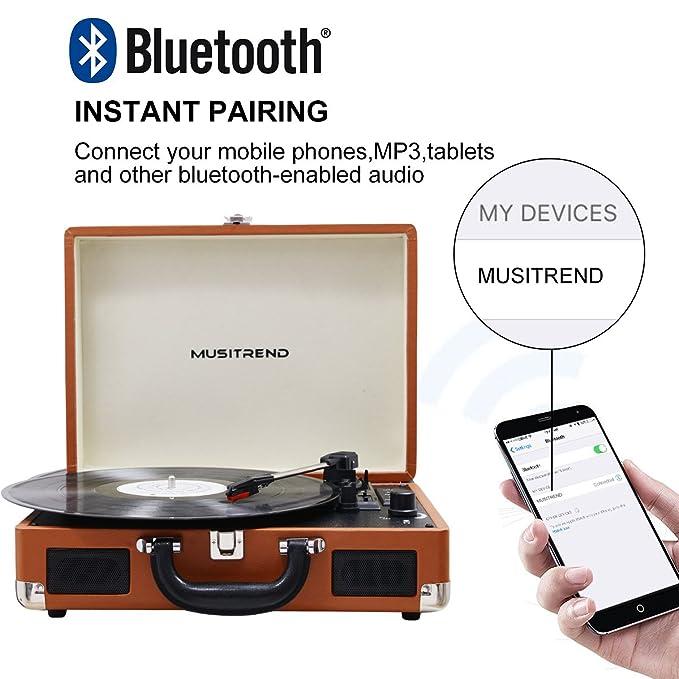 Amazon.com: Musitrend - Tocadiscos portátil de vinilo con ...