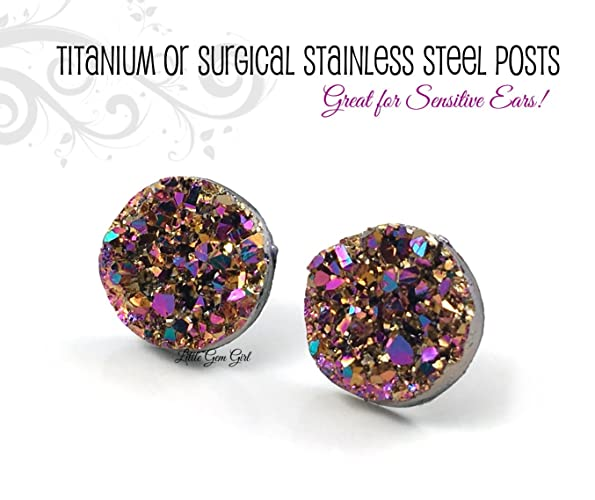 229886ab9 Small Magenta Rose Gold Aqua Rainbow Colored Faux Druzy Earrings - 8mm,  10mm or 12mm size - Titanium or Surgical Stainless Steel Posts Nickel Free  for ...