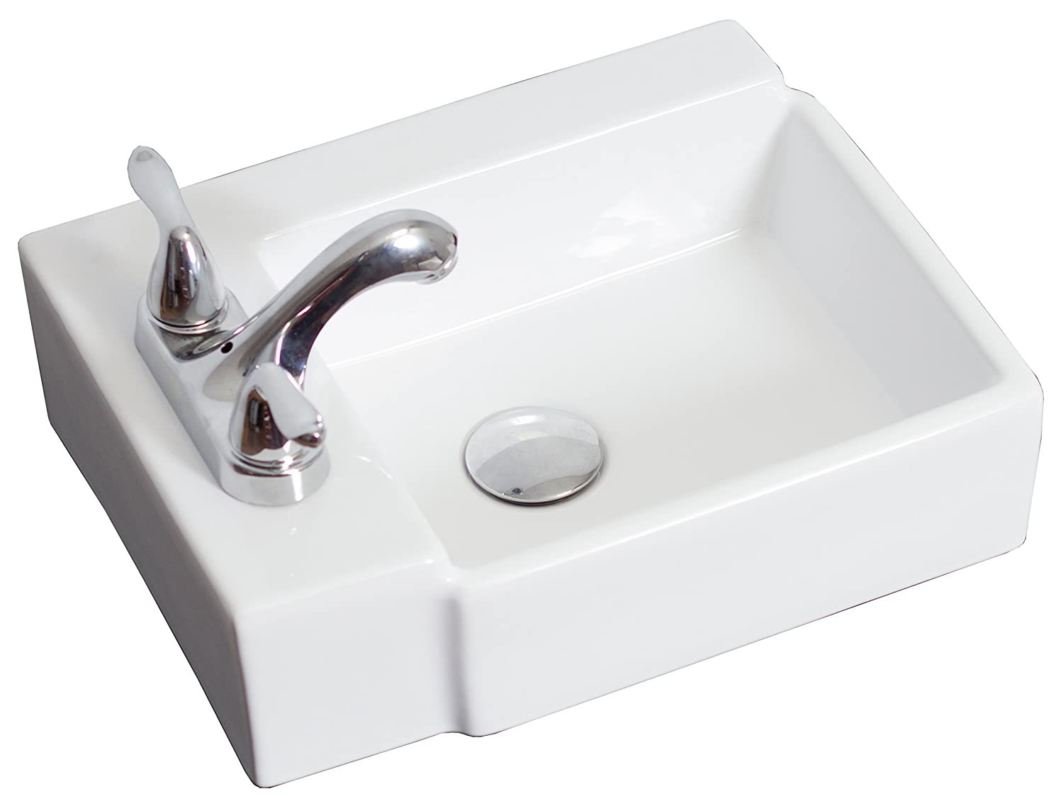 American Imaginations AI-8-1304 Wall Mount Rectangle Vessel for 4-Inch OC Faucet, 16.25-Inch x 12-Inch, White IMG Imports Inc.