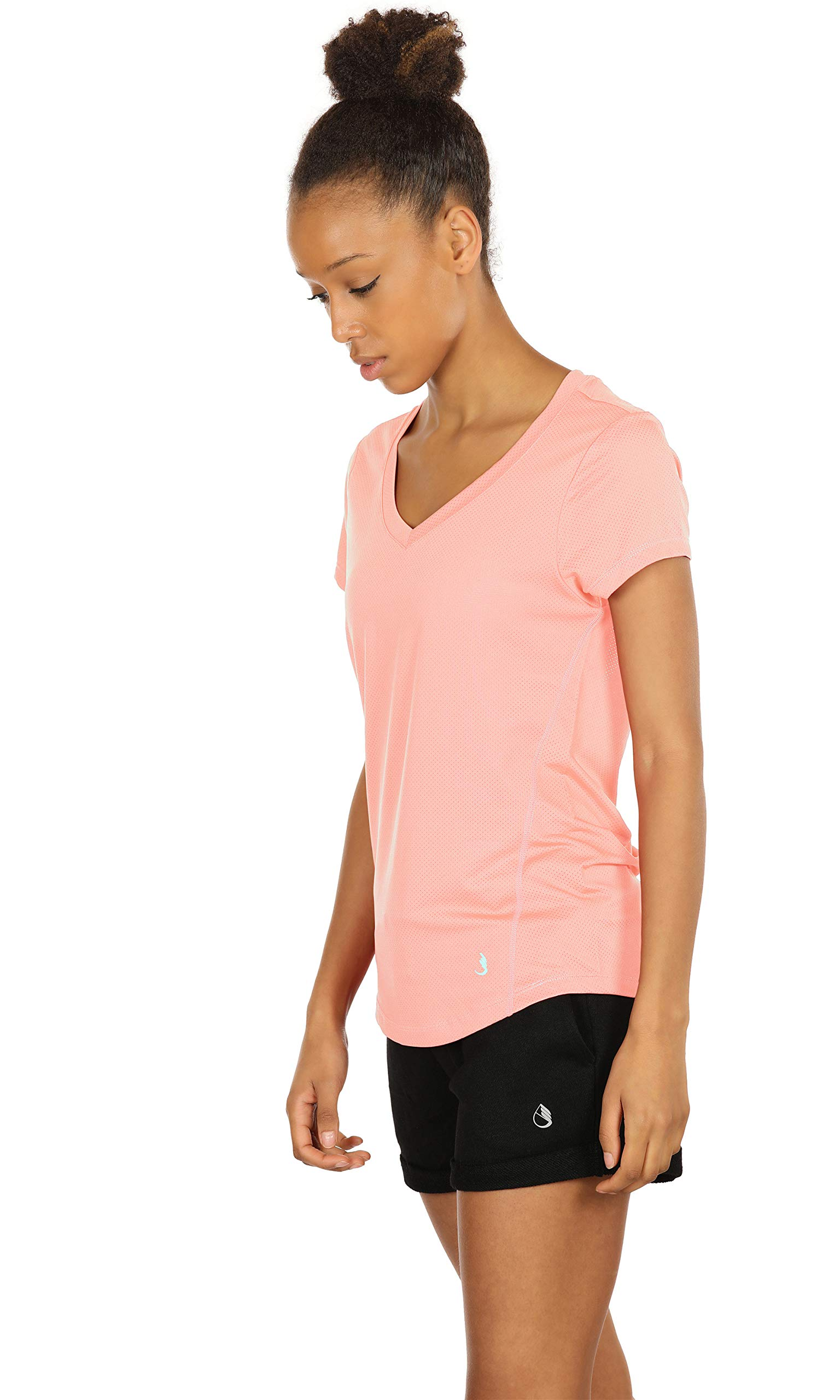 icyZone Activewear Fitness Yoga Tops Workout V Neck Open Back T-Shirts for Women (S, Pale Blush)