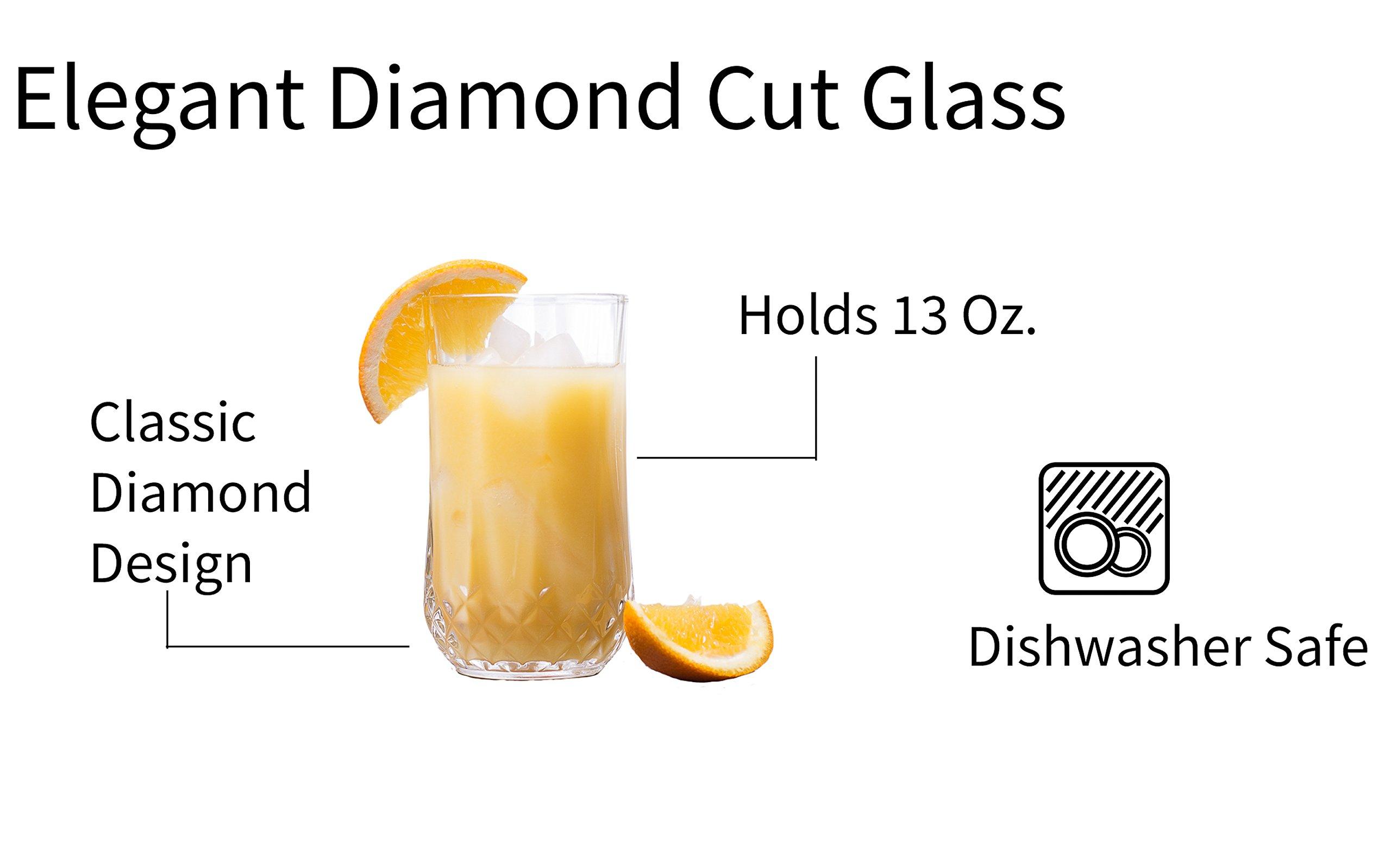 Palais Glassware 'Marseille' Mixed Drinkware, Elegant Diamond Cut Clear Glass set (Set of 12, 6 - 9 Oz. & 6 - 13 Oz.) by Palais Glassware (Image #6)