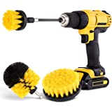 HIWARE Drill Brush Attachment Set - Power Scrubber Brush Cleaning Kit - All Purpose Drill Brush with Extend Attachment for Ba