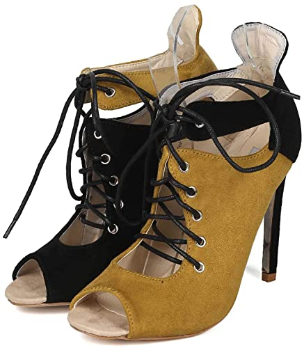 1bb0ff57597fe Fourever Funky Olive Two Tone Front Lace Up Peep Toe High Heel Booties Faux  Suede Green