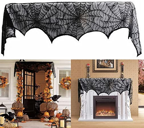 Amazon De Interlink Uk Halloween Deko Turvorhang Tur Tisch Fenster Dekoration Spinnennetz Vorhang