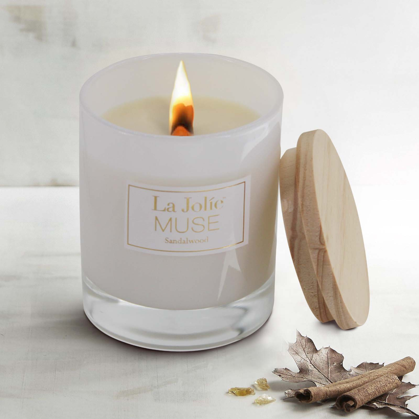 LA JOLIE MUSE Wood Wick Soy Candles Sandalwood Scented Glass Jar Candle, 45 Hours Burning, Gift by LA JOLIE MUSE (Image #3)
