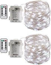BXROIU 2 X 50LEDs Luci a Stringa Micro Argento Filo a Batteria AA con Telecomando 8 programma (bianco freddo)