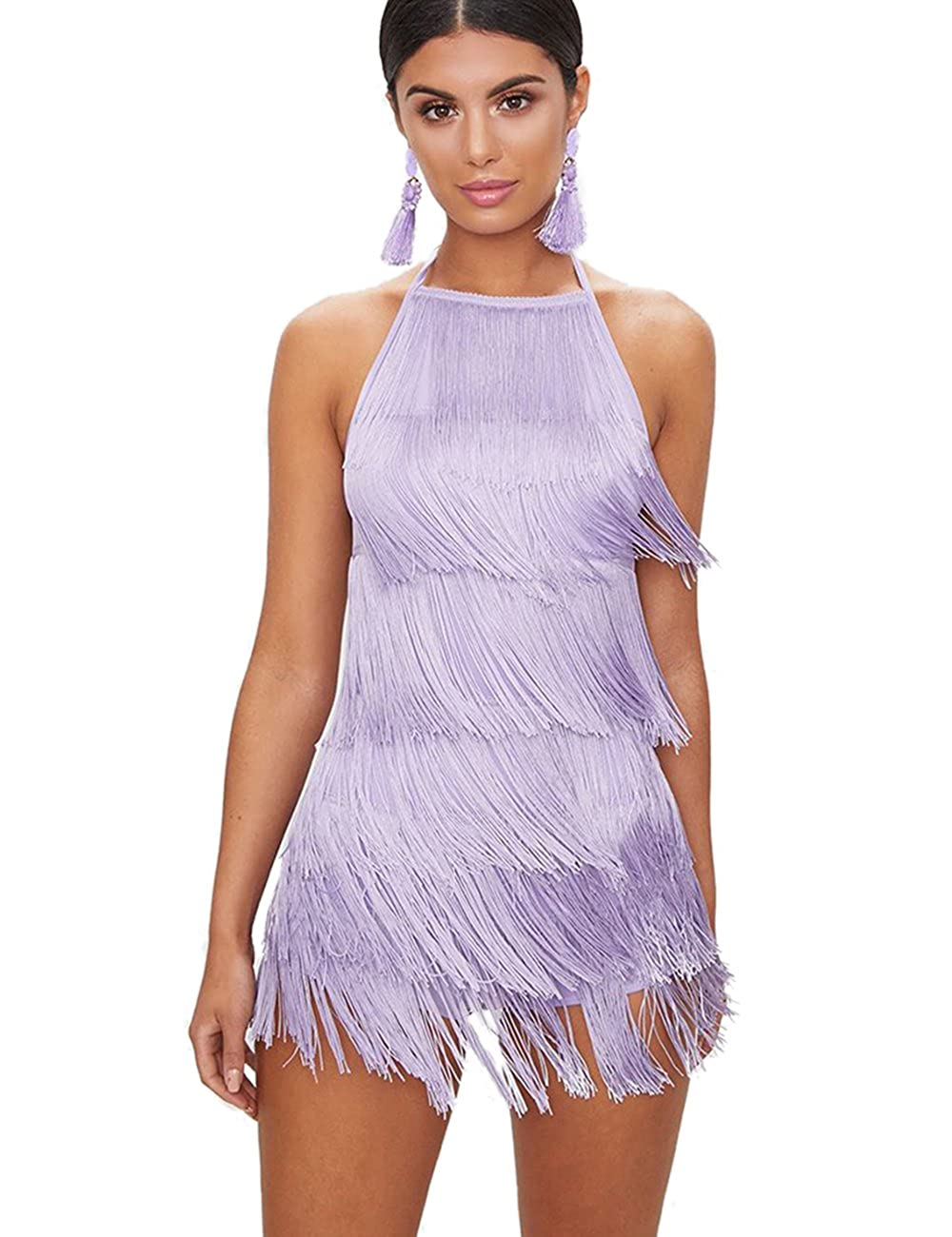 Maketina Women Halter Backless Fringe Tassels Mini Club Bandage Dress at  Amazon Women s Clothing store  f34f48e66390