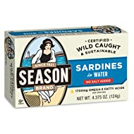 Season Sardines in Water, No Salt Added, 4.375-Ounce Tins (Pack of 12)