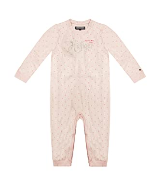c4d03b5e9 Tommy Hilfiger Newborn Baby Girl Jersey Coverall Barely Pink 12M:  Amazon.co.uk: Clothing