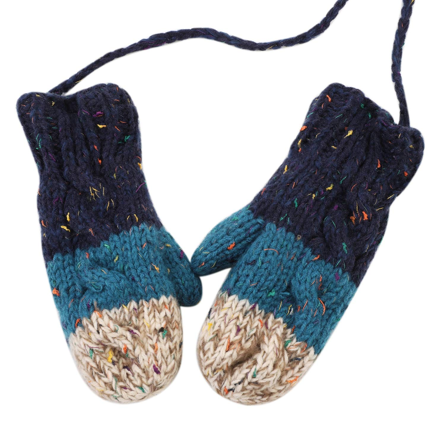 Girls Knitted Gloves with String Winter Fleece Lined Mittens Hanging Neck Full Finger Gloves Women Thicken Warm Mittens Birthday//Christmas//Xmas Gifts for Girls 8-16 Years Old