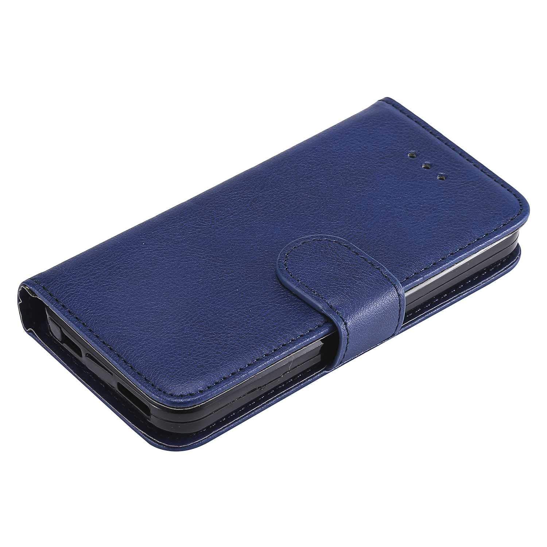2 en 1 D/étachable Fermeture Magn/étique Flip Case Housse pour Apple iPhone 5//5s//SE Etui en PU Cuir Portefeuille + Coque iPhone 5 // 5s // Se Bleu Protecteur d/écran en Verre Tremp/é Gratuit