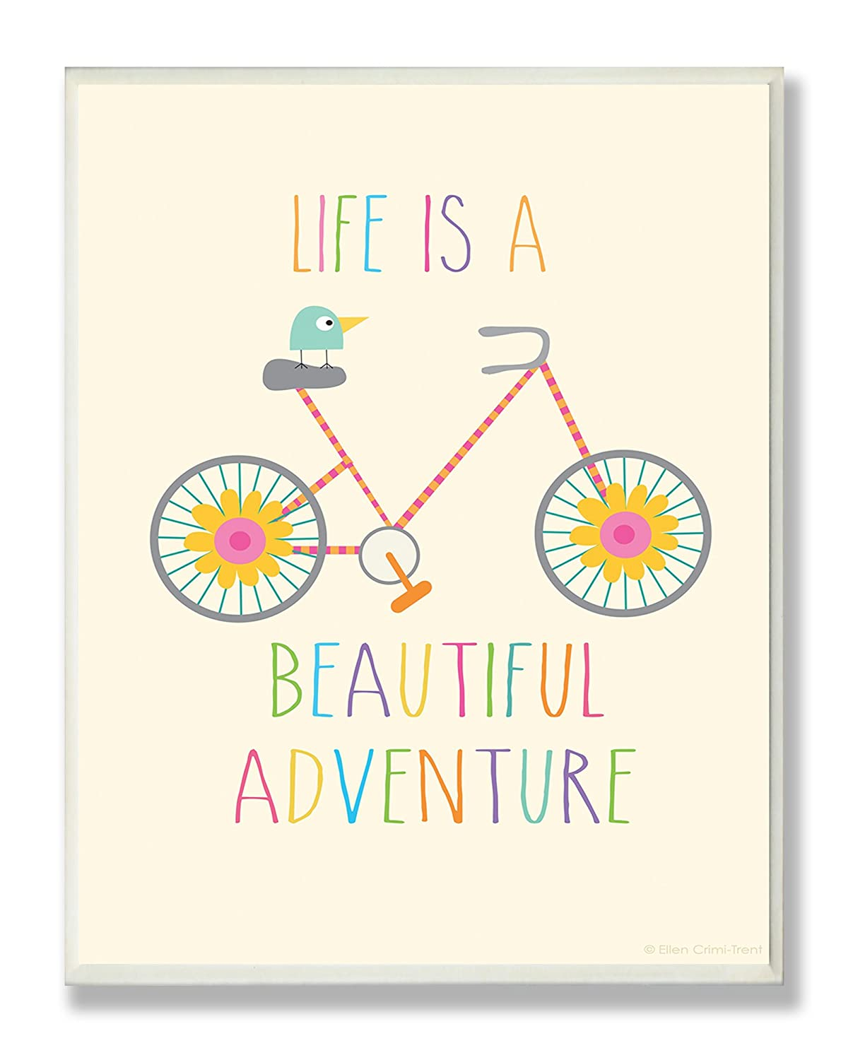 The Kids Room by Stupell Life Is A Beautiful Adventure Bird On A Bike Rectangle Wall Plaque, 11 x 0.5 x 15, Proudly Made in USA brp-1636
