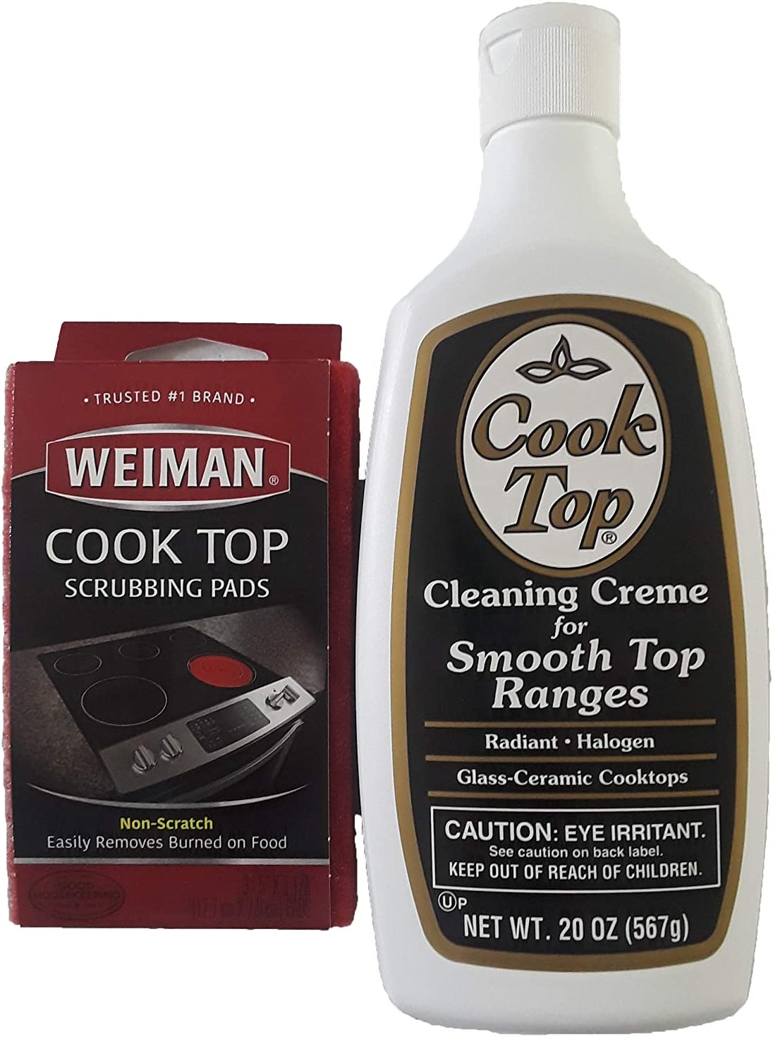 Smooth Top Ranges Cook Top Cleaning Creme, 20 oz + 1 Pack (3 scrubbers) of Non-Scratch Scrubbing Pads Bundle