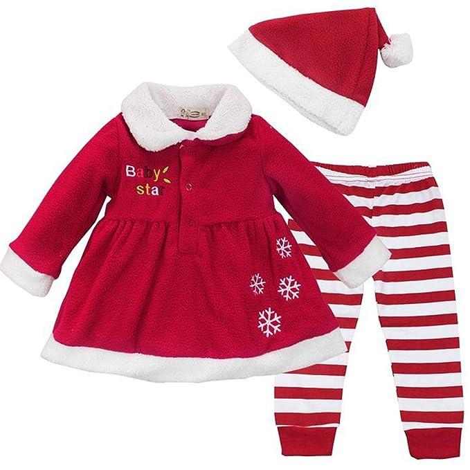 Zilucky Bebe Chicas Navidad Disfraz Papa Noel Vestido Raya Polainas - Disfraces-papa-noel-bebe