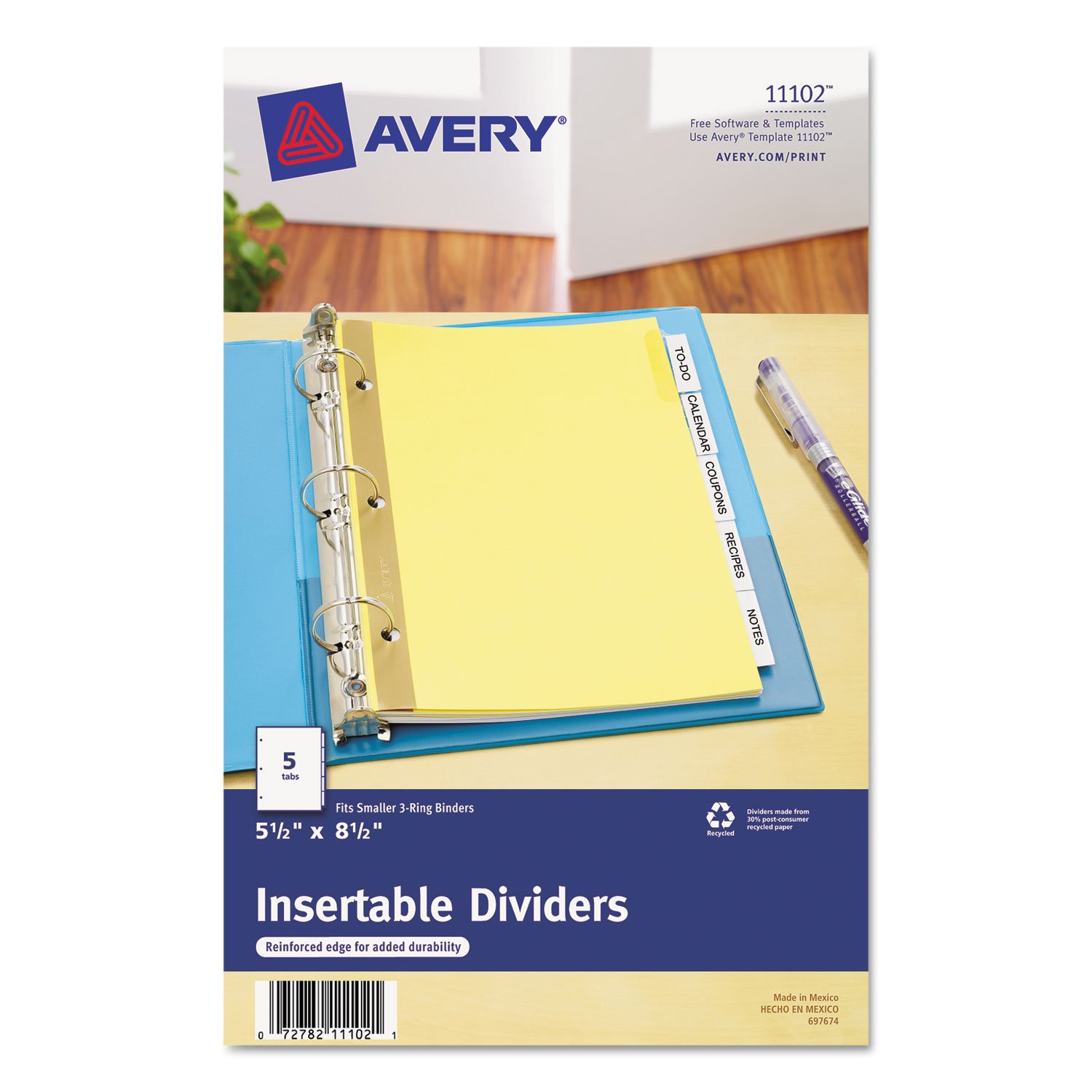 """Avery 11102 Insertable Dividers,5-Tab,8-1/2""""x5-1/2"""",Buff Paper,Clear 8-1/2""""x5-1/2"""" Avery Dennison"""