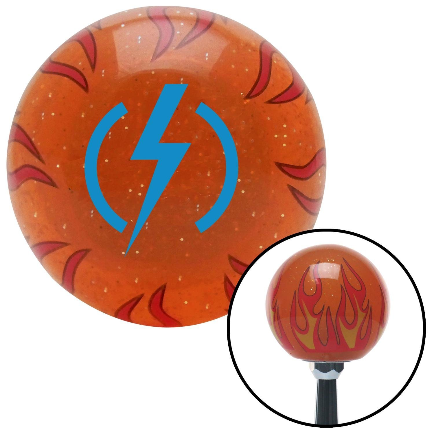 Blue Bolt American Shifter 252359 Orange Flame Metal Flake Shift Knob with M16 x 1.5 Insert