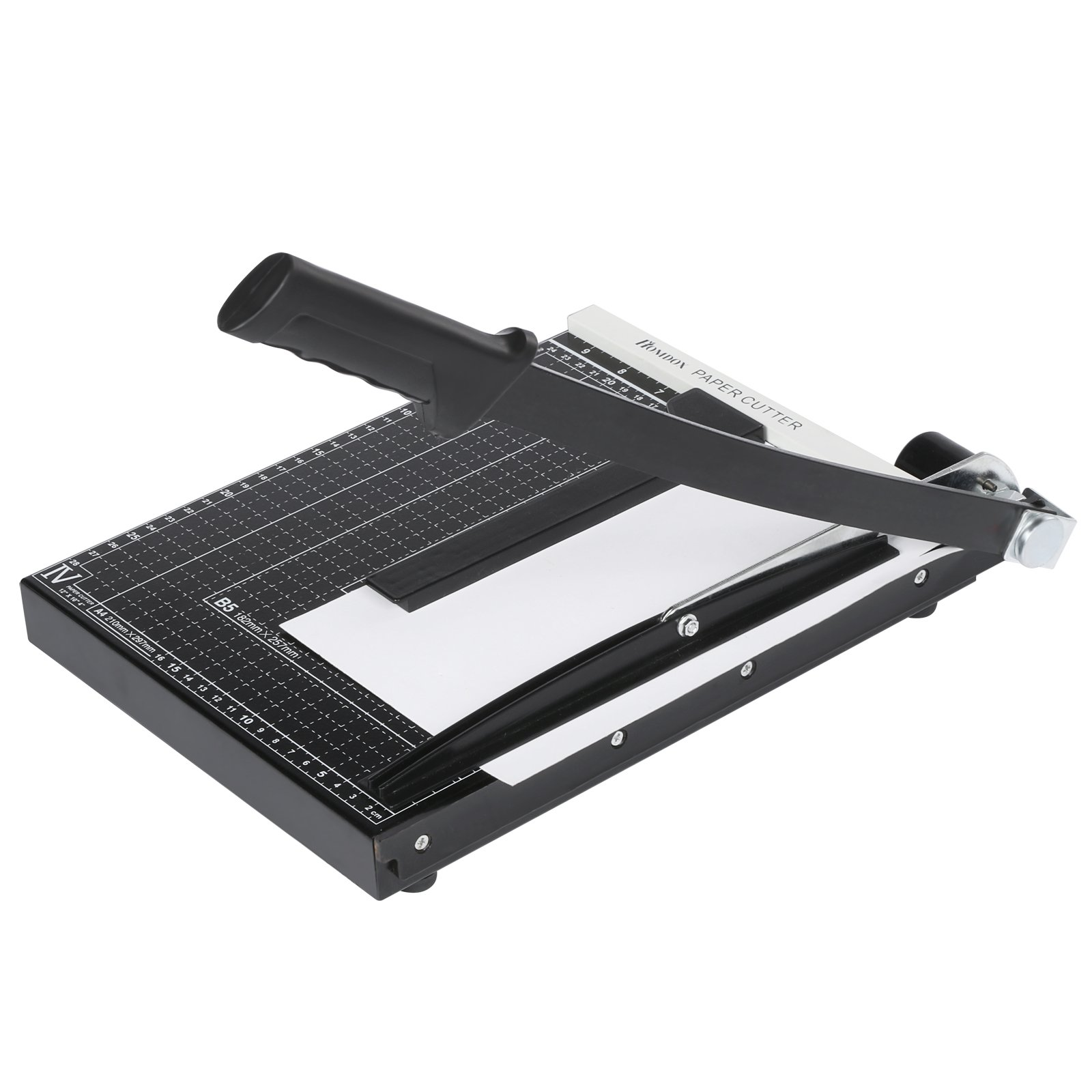 Kindsells Paper Trimmer, A4 Paper Desk Tops Steel Heavy Duty Auto-paper Pressing Bar Paper Cutter Scrap Machine for Office Home(US STOCK) (300250CM, Black)