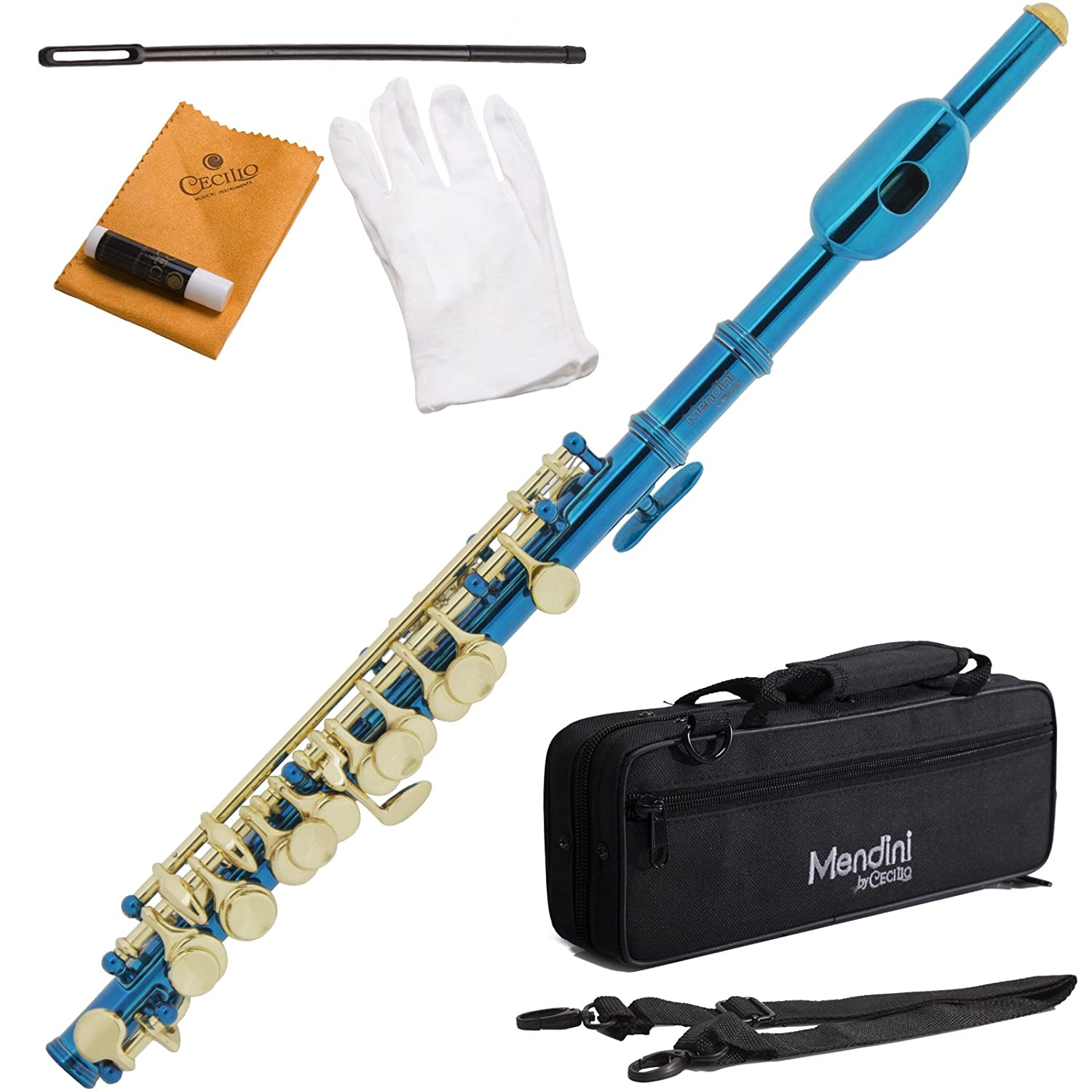 Mendini MPO-BN Black Nickel Key of C Piccolo with Gold Keys + Case, Joint Grease, Cleaning Cloth & Rod, Gloves Cecilio Musical Instruments MPO-BK