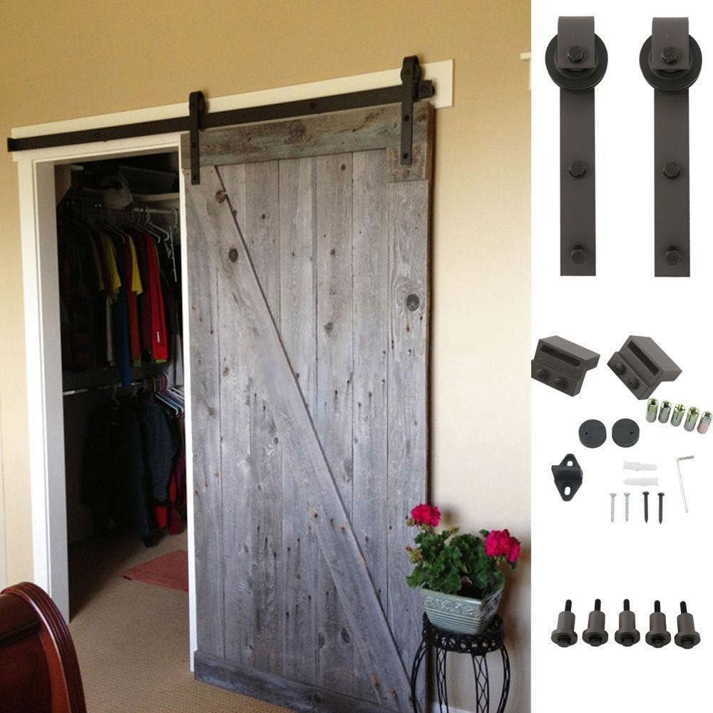 Wolink - Kit de herramientas para puerta corredera de madera para puerta, kit de herramientas para puerta, sistema de pista, puertas dobles, acero, color negro: Amazon.es: Bricolaje y herramientas