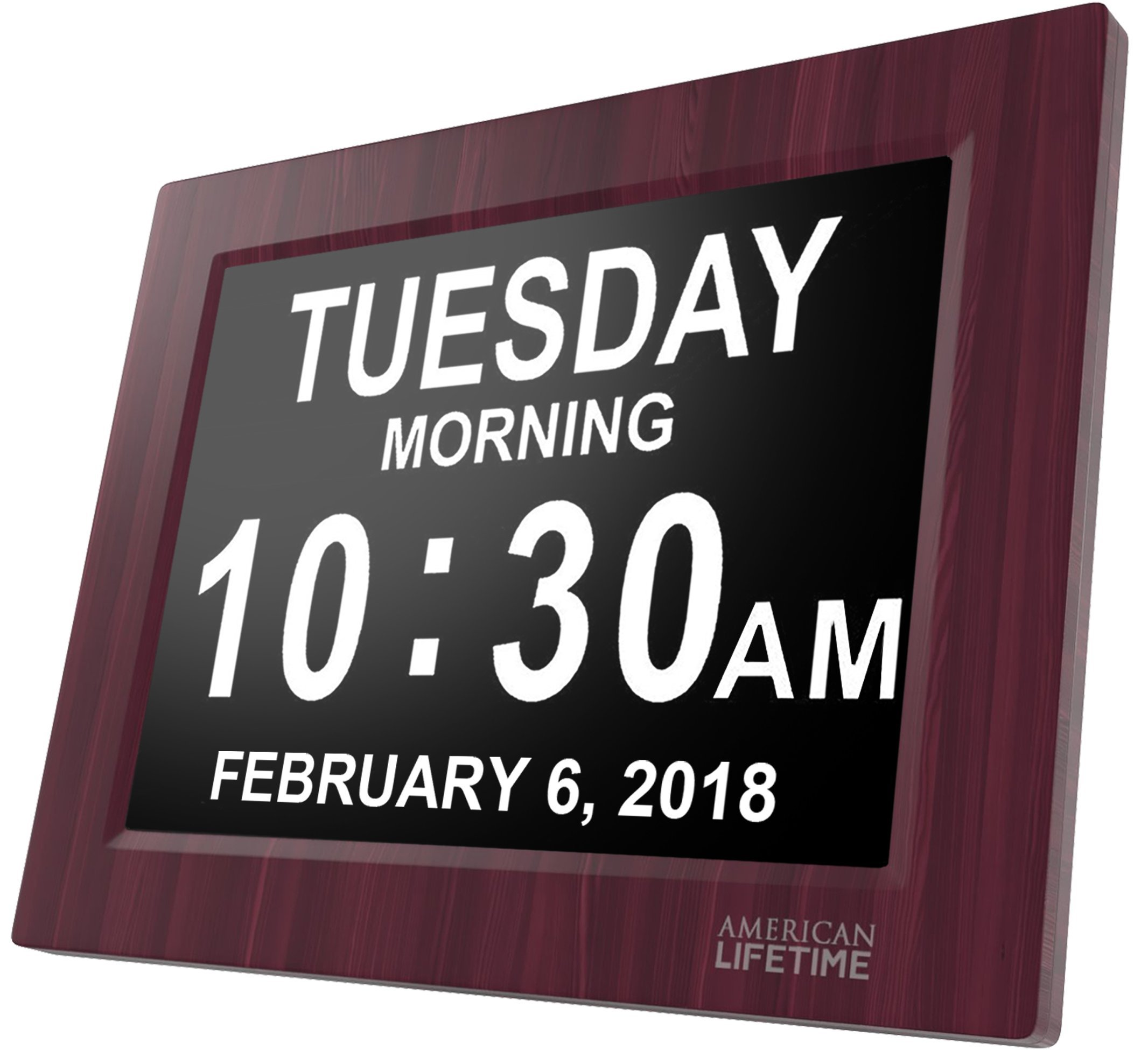 [Newest Version] Day Clock - Extra Large Impaired Vision Digital Clock with Battery Backup & 5 Alarm Options (Premium Mahogany Color)