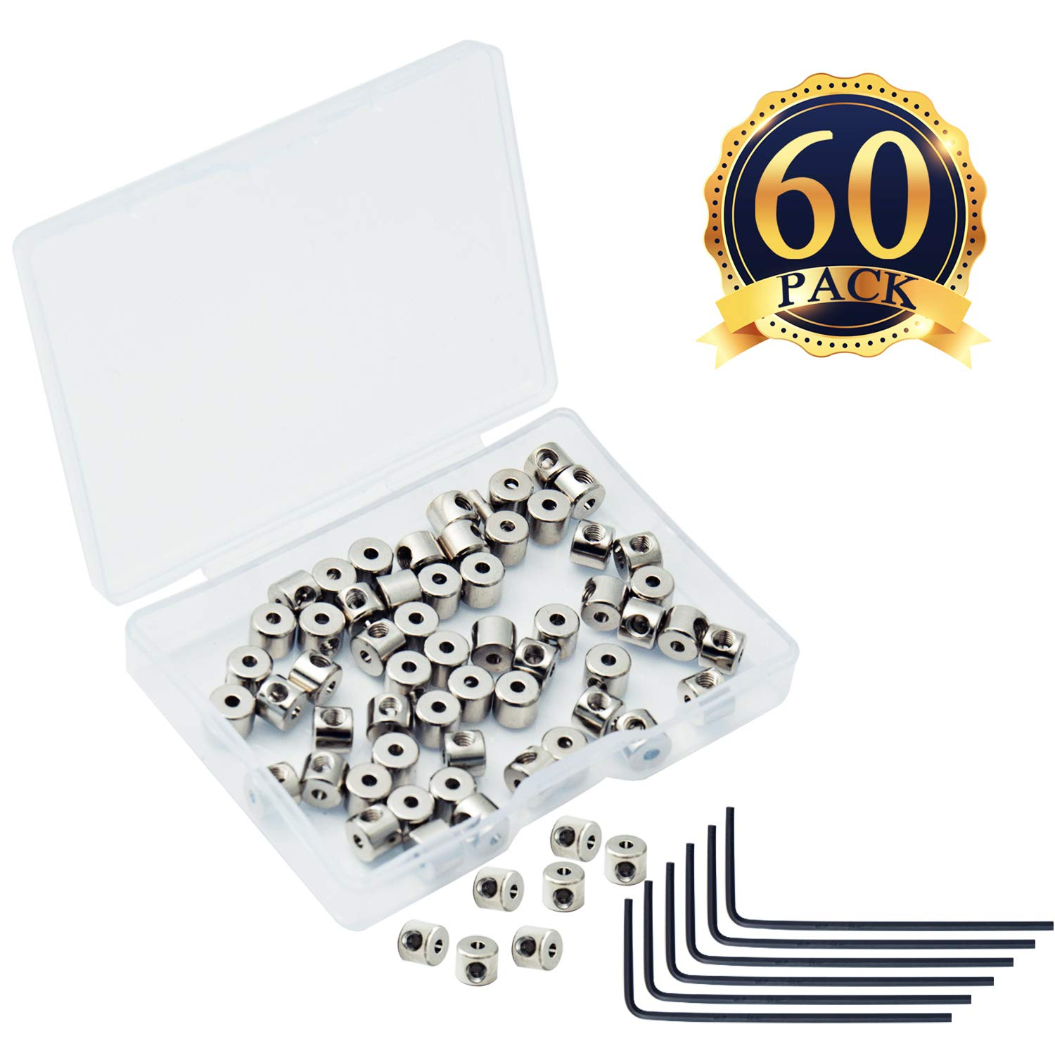 SUBANG 30 Pieces Pin Keepers Pin Locks Pin Backs Locking Clasp Locking Pin Keeper Backs with 3 Wrench All in Storage Case,5mm x 6mm