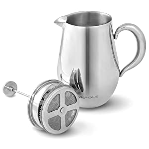 Cafetiere French Press Coffee Maker by VeoHome -Stainless steel Unbreakable and keeps coffee hotter for a long time thanks to its double wall (1 Liter)