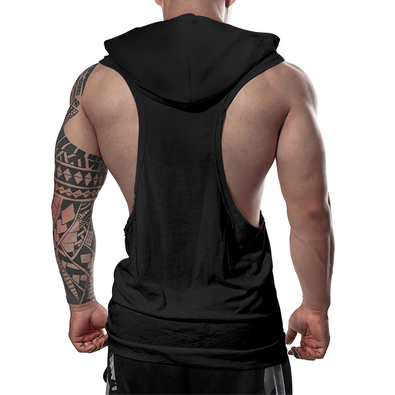 Workout Hooded Tank Tops Rainbow Unicorn and Dinosaur Men Slim Muscle Sleeveless Hooded Shirt with Pocket Cool and Muscle Cut