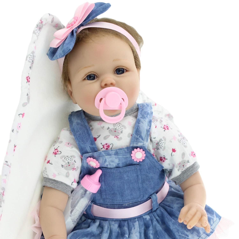 FairytaleMM 55CM Cute Reborn Baby Denim Kleid Puppe Silikon Lebensechte Newborn Puppe Mä dchen Geburtstag Kinder Mä dchen, Denim blau & Hautfarbe