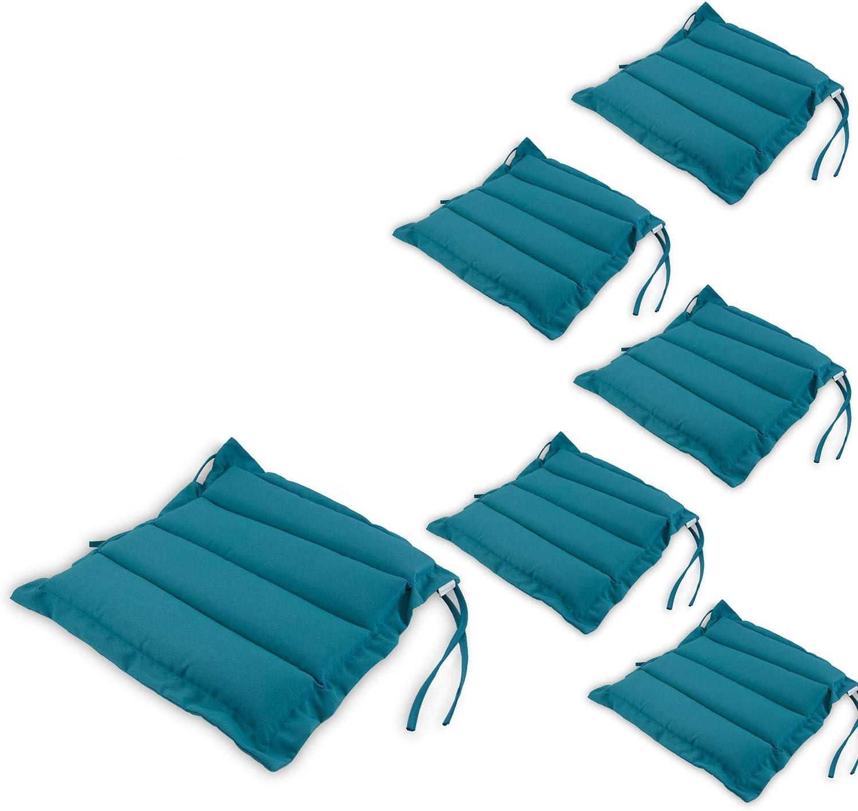 Edenjardi Pack 6 Cojines para sillas de jardín Color Turquesa, Tamaño 37x37x5 cm, Repelente al Agua