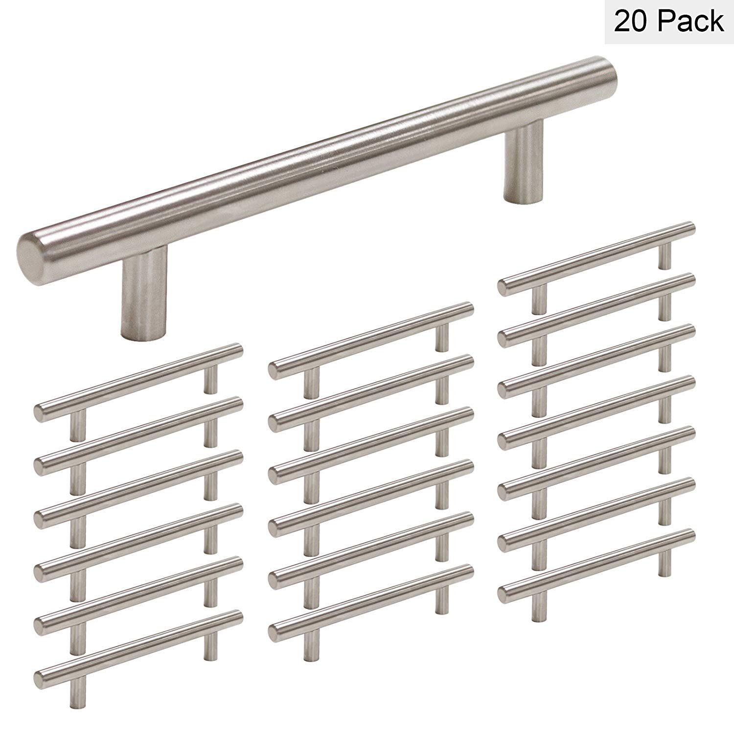 homdiy Brushed Nickel Cabinet Pulls 20 Pack 4in Hole Center Kitchen Cabinet Handles Brushed Nickel Drawer Pulls - HD201SN Modern Cabinet Hardware Pull Brushed Nickel Handles for Bathroom, Closet