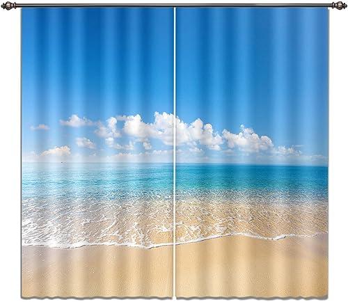 LB Tropical Beach 3D Window Curtains Drapes