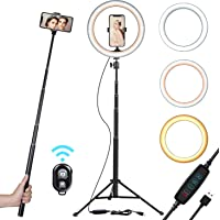 "10"" Selfie Ring Light with 51"" Tripod Stand & Smart Phone Holder for Live Stream/Makeup 