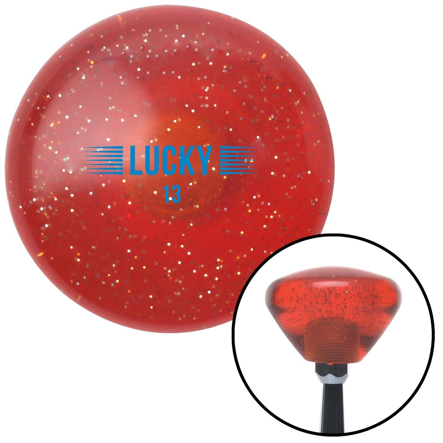 Blue Luck 13 Orange Retro Metal Flake with M16 x 1.5 Insert American Shifter 289008 Shift Knob