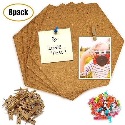 Amazon Com Jusoney Hexagon Cork Board Tiles 8 Pack With Full Sticky