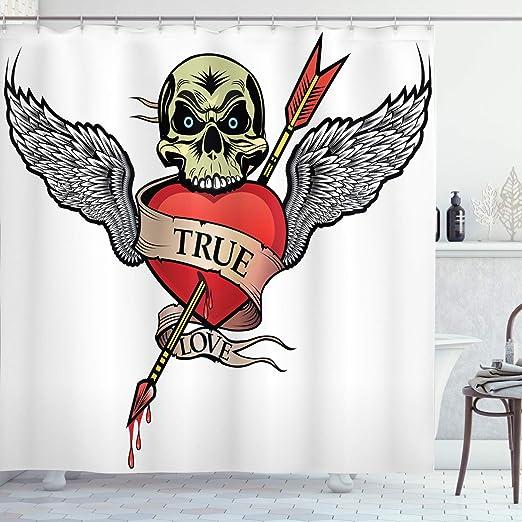 ABAKUHAUS Tatuaje Cortina de Baño, Ángel alas Amor cráneo ...