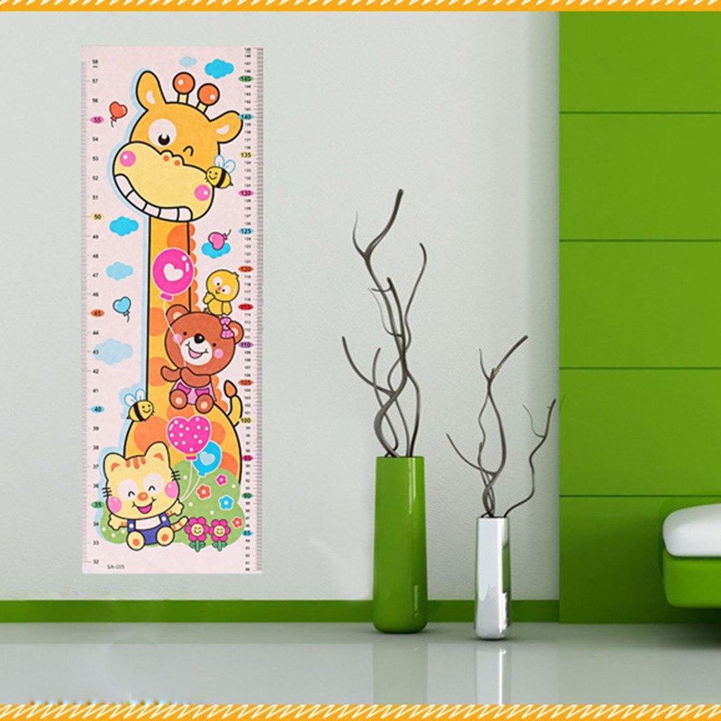 HuaYangca Cartoon Animal Baby Kids Growth Chart Height Measurement Wall Sticker(1 Sheet)