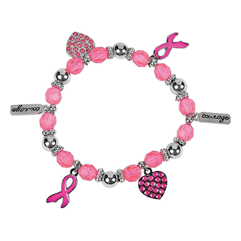 Pink Ribbon Charm Bracelets Fun Express 24//2610