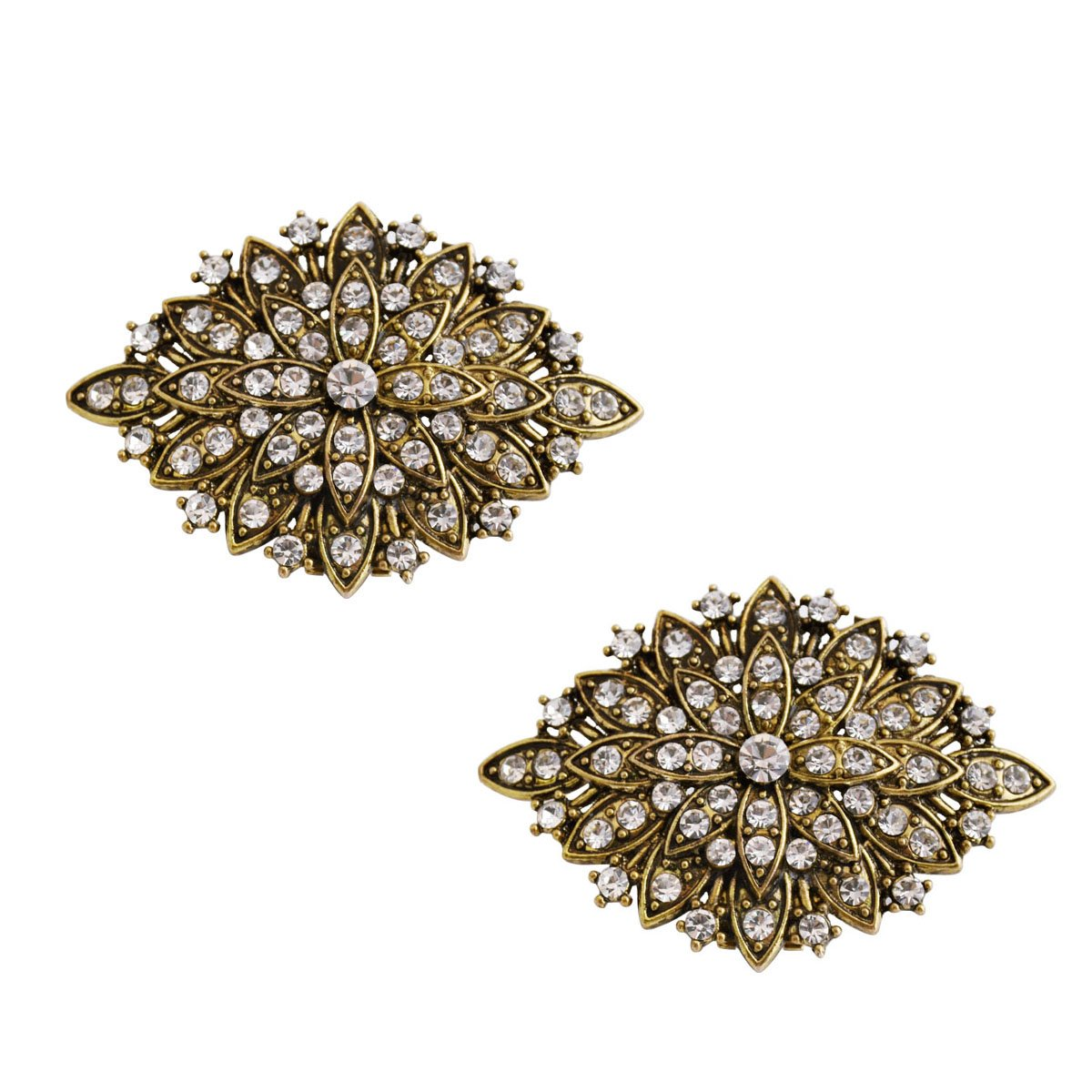 ElegantPark CG Antique Gold Leaf Design Rhinestones Wedding Party Decoration Shoe Clips Silver 2 Pcs